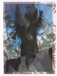 Hortus Conclusus silkscreen unica angel at Wolvega cemetry